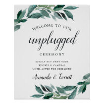 Abundant Foliage Unplugged Wedding Ceremony Sign