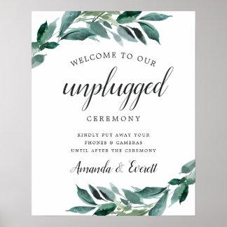 Abundant Foliage Unplugged Wedding Ceremony Sign