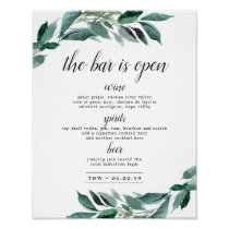 Abundant Foliage Wedding Bar Menu Sign