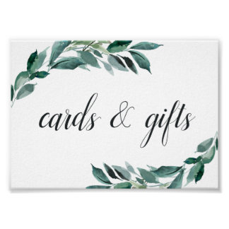 Abundant Foliage Wedding Cards & Gifts Sign