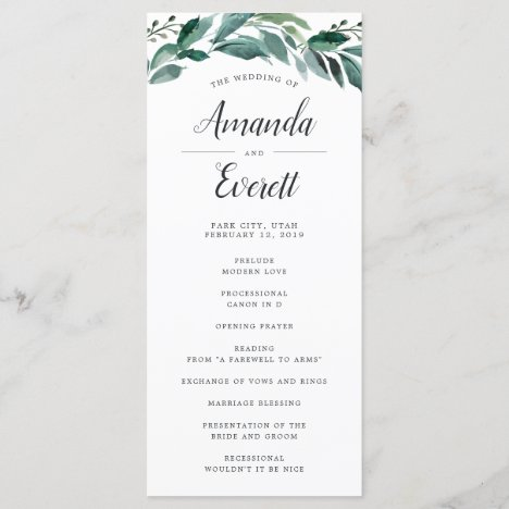 Abundant Foliage Wedding Ceremony Program