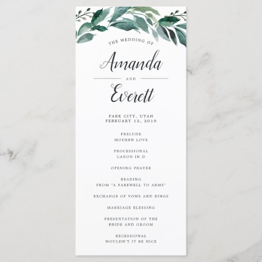 Wedding Ceremony Programs.Abundant Foliage Wedding Ceremony Program