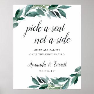 Abundant Foliage Wedding Ceremony Seating Poster