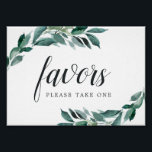 "Abundant Foliage Wedding Favor Sign<br><div class=""desc"">Designed to match our Abundant Foliage wedding collection,  this elegant botanical sign invites guests to take a favor. Personalize with two lines of custom text in calligraphy and block lettering (shown with &quot;Favors; please take one&quot;),  framed by lush watercolor greenery and eucalyptus leaves.</div>"
