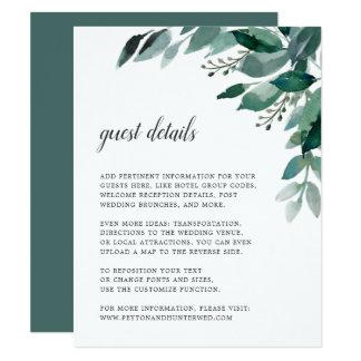 Abundant Foliage Wedding Guest Details Card
