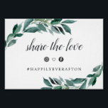 "Abundant Foliage Wedding Hashtag Sign<br><div class=""desc"">Designed to match our Abundant Foliage wedding collection, this elegant botanical sign lets guests know about your custom wedding hashtag for social media sharing. Personalize the header and hashtag (shown with &quot;Share the Love&quot;), framed by lush watercolor greenery and eucalyptus leaves. Includes two social media icons joined by a heart....</div>"