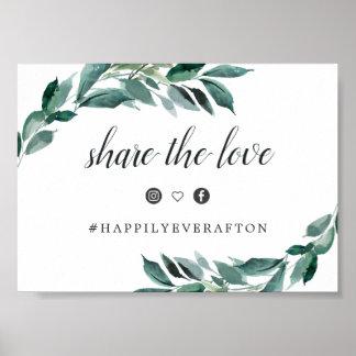 Abundant Foliage Wedding Hashtag Sign