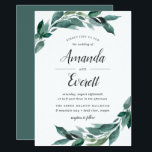 "Abundant Foliage Wedding Invitation<br><div class=""desc"">Elegant botanical wedding invitations feature a chic color palette of forest green,  inky off-black and crisp white. Your wedding details are draped with abundant green branches and leaves in a vibrant painted watercolor style.</div>"