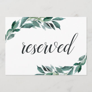 Abundant Foliage Wedding Reserved Sign