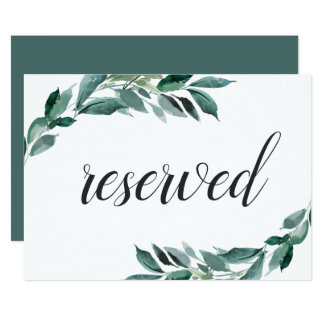 Abundant Foliage Wedding Reserved Sign Card