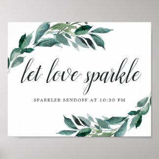 Abundant Foliage Wedding Sparker Sendoff Sign