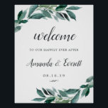 "Abundant Foliage Wedding Welcome Poster<br><div class=""desc"">Welcome guests to your wedding with our Abundant Foliage poster,  featuring lush watercolor botanical greenery and eucalyptus leaves,  with &quot;welcome to our happily ever after, &quot; your names,  and wedding date in a chic mix of traditional serif and calligraphy typefaces.</div>"