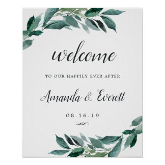 Abundant Foliage Wedding Welcome Poster
