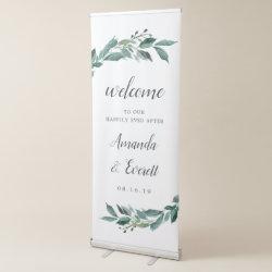 Abundant Foliage Wedding Welcome Retractable Banner