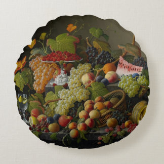 Abundant Fruit, 1858 (oil on canvas) Round Pillow