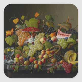 Abundant Fruit, 1858 (oil on canvas) Square Sticker