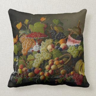 Abundant Fruit, 1858 (oil on canvas) Throw Pillow