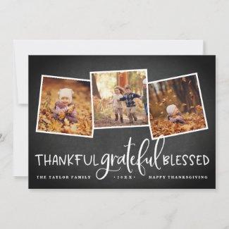 Abundant Gratitude Thanksgiving Photo Collage Card