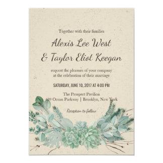 Abundant Love - Succulent Bouquet Wedding Invites