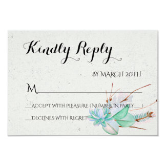 Abundant Love - Succulent Bouquet Wedding RSVP Card