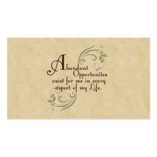 Abundant Opportunities Affirmation /Business Cards Double-Sided Standard Business Cards (Pack Of 100)