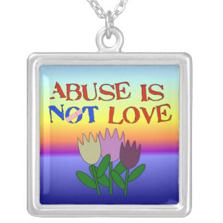 Abuse Is Not Love Square Pendant Necklace