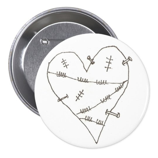 Abused Heart Pinback Button