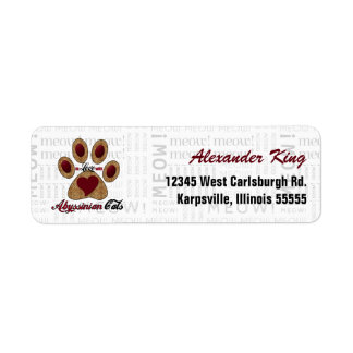 Abyssian Cat Breed Love with Meow Print Label