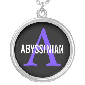 Abyssinian Breed Monogram Design Silver Plated Necklace