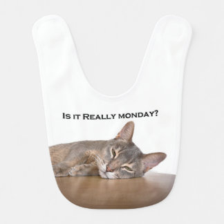 Abyssinian Brown Funny Cat Hates Monday Bib