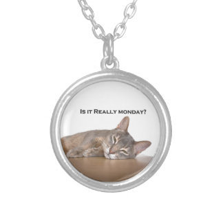 Abyssinian Brown Funny Cat Hates Monday Silver Plated Necklace