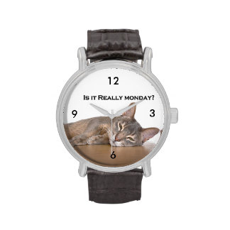 Abyssinian Brown Funny Cat Hates Monday Wrist Watches