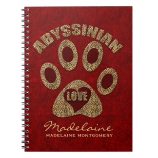 Abyssinian Cat Breed | Custom Red Cheetah Spiral Notebook