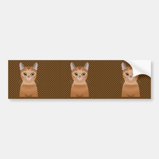 Abyssinian Cat Cartoon Paws Bumper Stickers