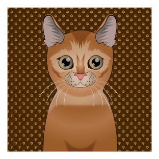 Abyssinian Cat Cartoon Paws Poster