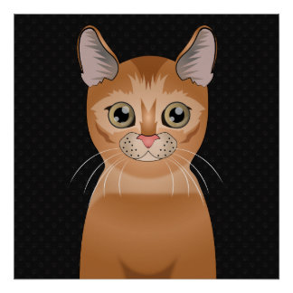 Abyssinian Cat Cartoon Paws Posters