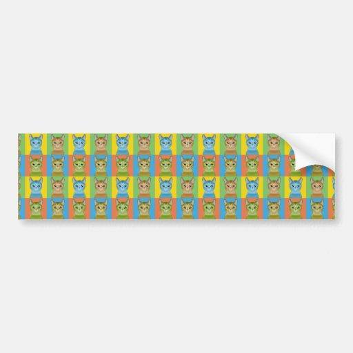 Abyssinian Cat Cartoon Pop-Art Bumper Stickers