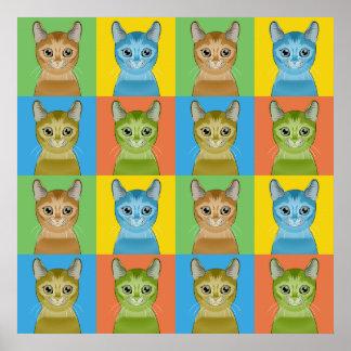 Abyssinian Cat Cartoon Pop-Art Posters