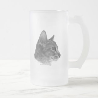 Abyssinian Cat Frosted Glass Beer Mug