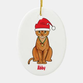 Abyssinian Cat in Santa Hat Name Customizable Ceramic Ornament