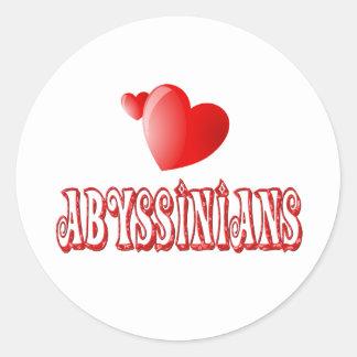 Abyssinian Cat Love Classic Round Sticker