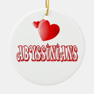 Abyssinian Cat Love Double-Sided Ceramic Round Christmas Ornament