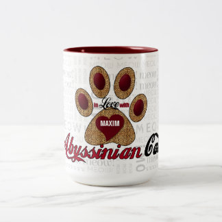 Abyssinian Cat Lover's Breed Specific Cheetah Two-Tone Coffee Mug