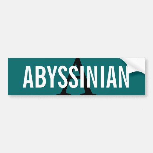 Abyssinian Cat Monogram Design Bumper Stickers