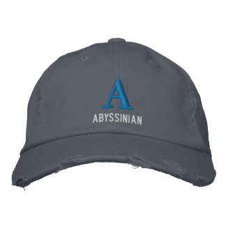 Abyssinian Cat Monogram Design Embroidered Baseball Hat