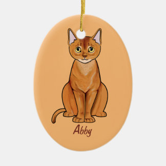 Abyssinian Cat Name Customizable Ceramic Ornament