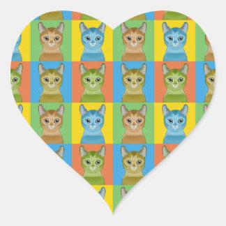 Abyssinian Cat Pop-Art Heart Stickers