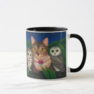 Abyssinian Cat Saw Whet Owls Fantasy Art Mug