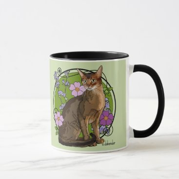 Beach Themed Abyssinian Cat with Beach Roses Mug