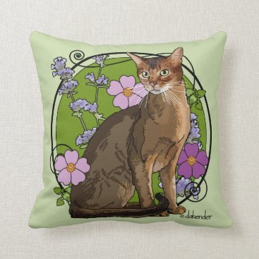 Beach Themed Abyssinian Cat with Beach Roses Throw Pillow